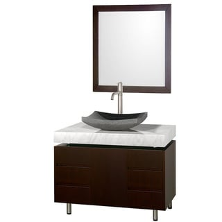 Wyndham Collection 'Malibu' 36-inch Espresso/ Carrrera Top/ Granite Sink Vanity Set