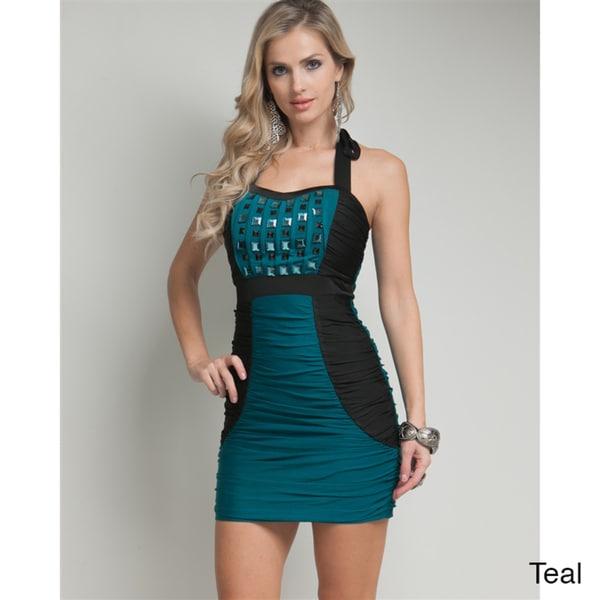 Stanzino Women's Jeweled Front Halter Mini Dress