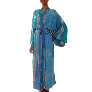 Rayon Women's 'Green Baliku' Batik Robe (Indonesia)