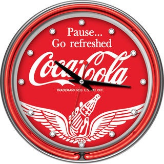 Wings Coca Cola Two Ring Neon Clock