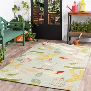 Hand-hooked Canaries Pear Indoor/Outdoor Rug (9' x 12')