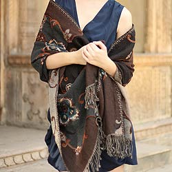 Wool 'Teal Bouquet' Shawl (India)