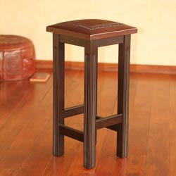 Mohena Wood and Leather 'Colonial Empress' Bar Stool (Peru)