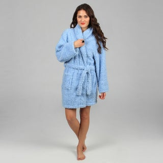 Aegean Apparel Women's Blue Textured Plush Robe