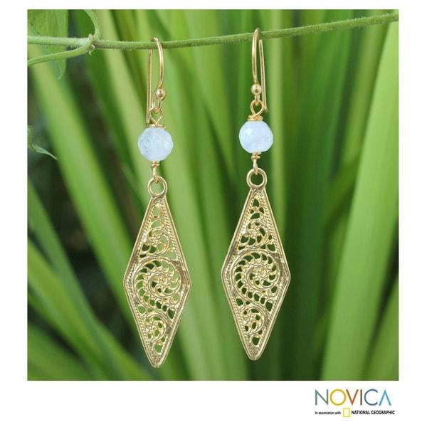 Gold Overlay 'Vintage Lanna' Moonstone Filigree Earrings (Thailand)