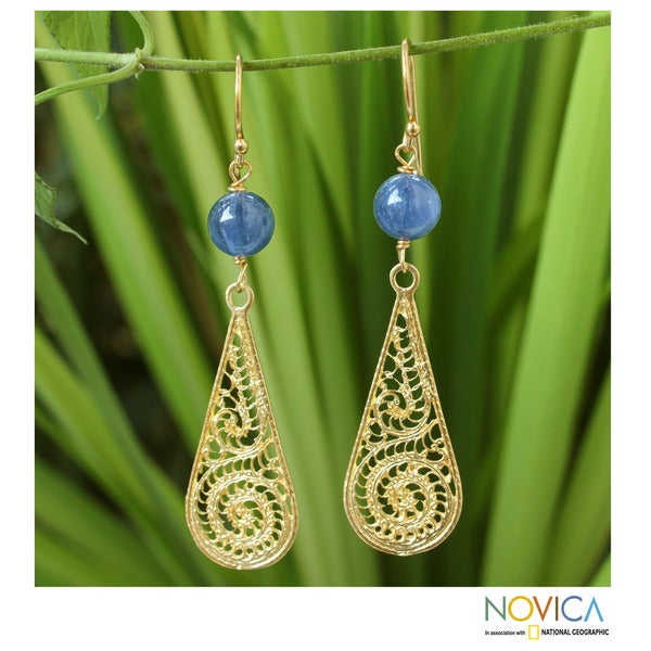 Gold Overlay 'Vintage Thailand' Kyanite Filigree Earrings (Thailand)