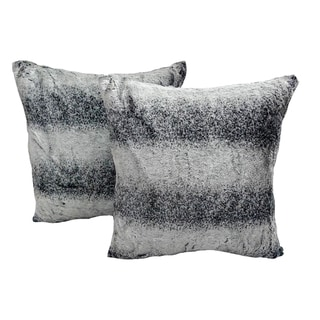 Black Ombre Langley Printed Plush 18x18-inch Throw Pillows (Set of 2)