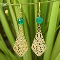 Gold Overlay 'Lanna Delight' Chalcedony Filigree Earrings (Thailand)