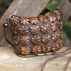 Coconut Shell 'Petite Brown Blossoms' Shoulder Bag (Thailand)