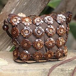 Handcrafted Coconut Shell 'Petite Blossoms' Shoulder Bag (Thailand)