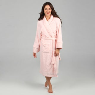 Aegean Apparel Women's Light Pink Embossed Scroll Plush Robe