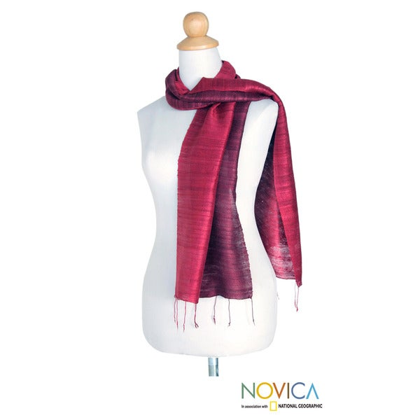 Silk 'Roses and Red Wine' Scarf (Thailand)