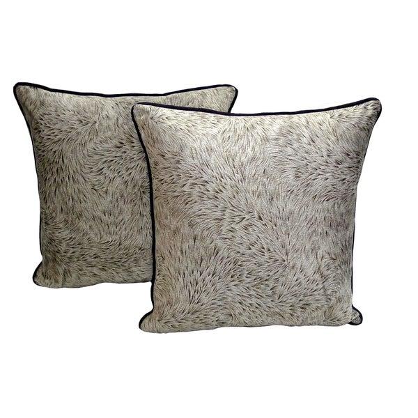 Silver Karma Print Micro-Mink 18-inch Throw Pillows (Set of 2)