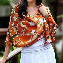 Silk 'Sakura Blossoms' Shawl (Indonesia)