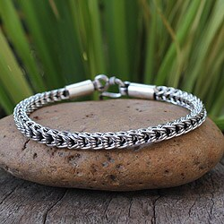 Sterling Silver 'Intricate Textures' Chain Bracelet (Thailand)