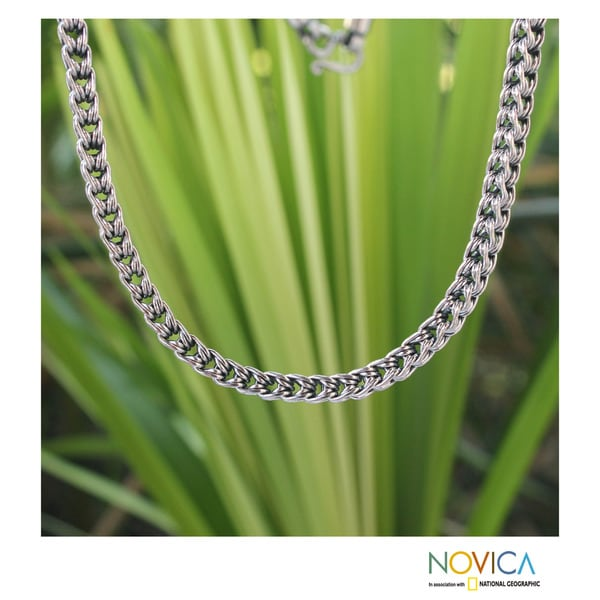 Sterling Silver 'Intricate Textures' Necklace (Thailand)