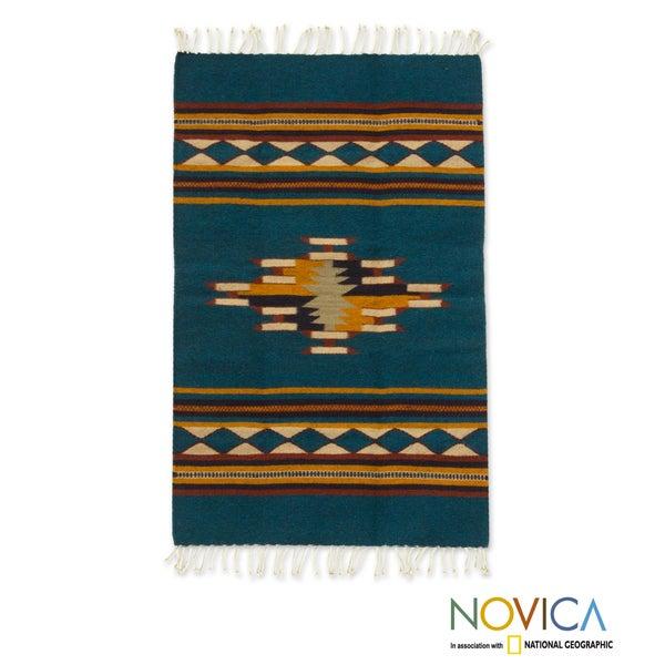 Zapotec 'Blue Diamond Design' Wool Rug (2 x 3.5 Feet) (Mexico)