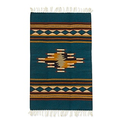 Zapotec 'Blue Diamond Design' Wool Rug (2 x 3.5 Feet) (Mexico)