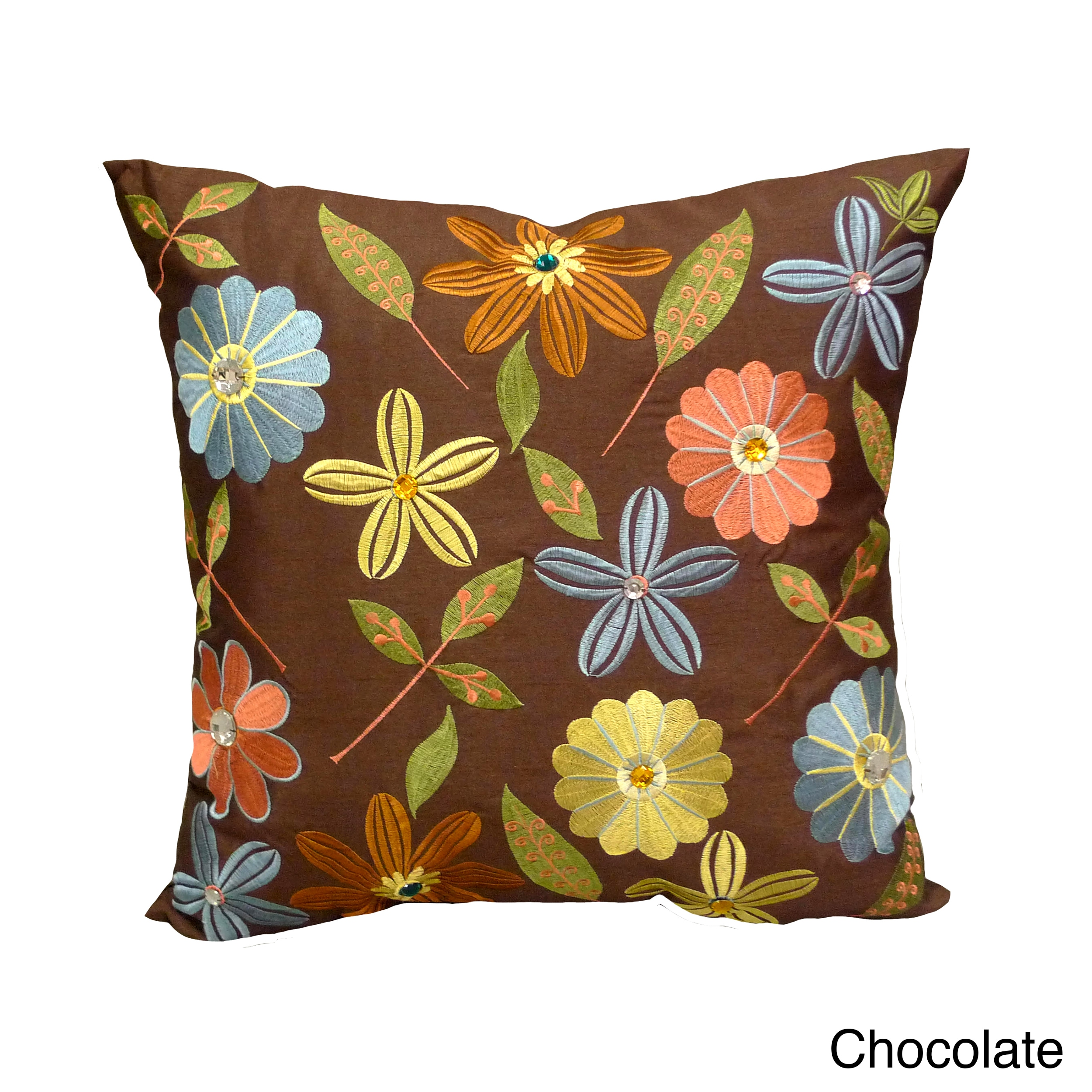 Overstock.com 'Milena' Floral Embroidered Jewel Embellished 18x18-inch Throw Pillows (Set of 2)