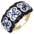 Malaika Gold over Sterling Silver 2 4/5ct TGW Tanzanite and Black Spinel Ring