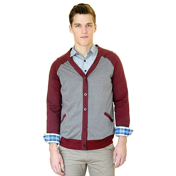 Something Strong Men's Slim Fit Raglan Cut Cardigan With Front Pockets