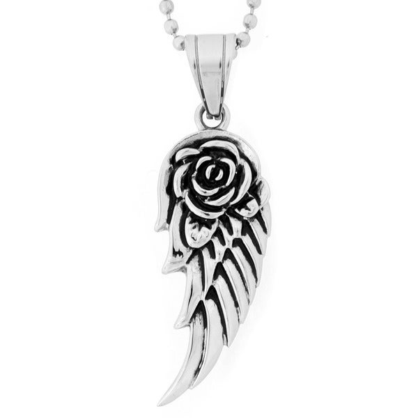 Stainless Steel Rose Angel Wing Pendant Necklace