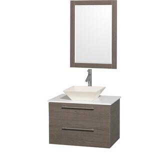 Wyndham Collection 'Amare' 30-inch Grey Oak/ White Top/ Bone Sink Vanity Set