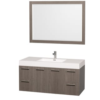 Wyndham Collection 'Amare' 48-inch Grey Oak/ White Single Vanity Set