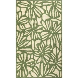 Hand-hooked Flowers Spruce Green Indoor/Outdoor Rug (2' x 3')