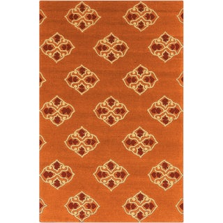Hand-hooked Stencil Orange Indoor/Outdoor Rug (8' x 10'6)