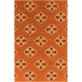 Hand-hooked Orange Stencil Indoor/Outdoor Rug (5' x 7'6)