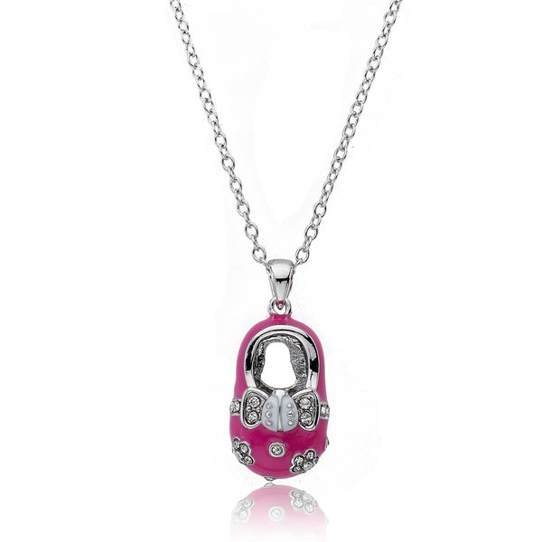 Little Miss Twin Stars Silvertone Crystal and Pink Enamel Baby Shoe Necklace