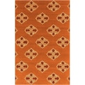 Hand-hooked Stencil Orange Indoor/Outdoor Rug (2' x 3')
