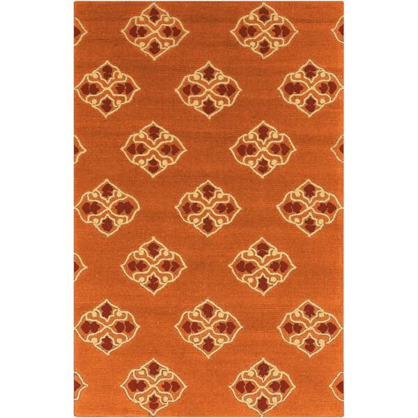 Hand-hooked Stencil Orange Indoor/Outdoor Rug (2' x 3')