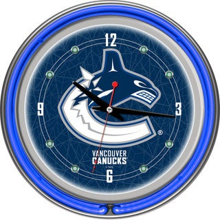 NHL Vancouver Canucks Double Neon Ring Clock