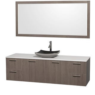 Wyndham Collection 'Amare' 72-inch Grey Oak/ White Top/ Granite Sink Vanity Set