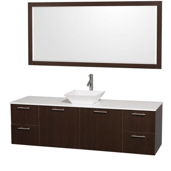 Wyndham Collection 'Amare' 72-inch Espresso/ White Top/ White Sink Vanity Set