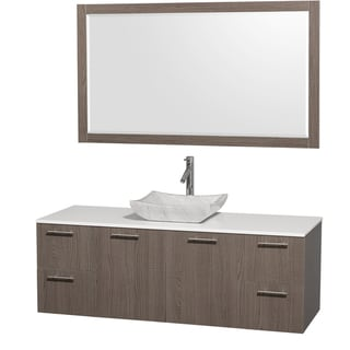 Wyndham Collection 'Amare' 60-inch Grey Oak/ White Top/ Carrera Sink Vanity Set