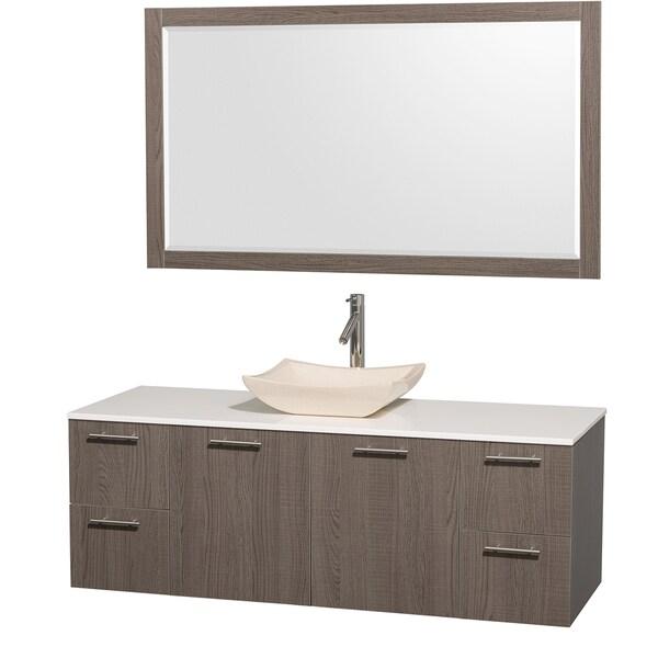 Wyndham Collection 'Amare' 60-inch Grey Oak/ White Top/ Ivory Sink Vanity Set