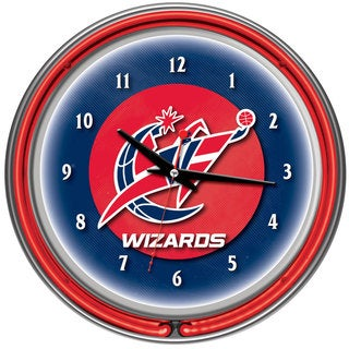 Washington Wizards NBA Chrome Double Neon Ring Clock