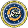 Utah Jazz NBA Chrome Double Neon Ring Clock
