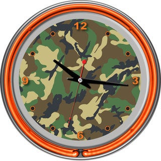 Hunt Camo Chrome Double Ring Neon Clock