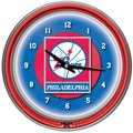 Philadelphia 76ers NBA Chrome Double Neon Clock