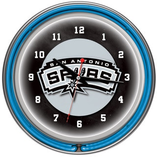 San Antonio Spurs NBA Chrome Double Ring Neon Clock