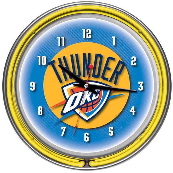Oklahoma City Thunder NBA Chrome Double Neon Clock