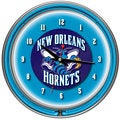 New Orleans Hornets NBA Chrome Double Neon Clock