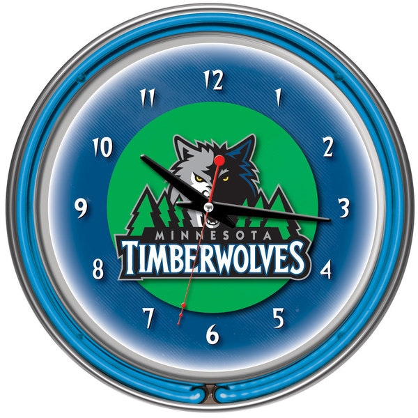 Minnesota Timberwolves NBA Chrome Double Neon Ring Clock 10627420