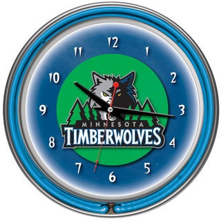 Minnesota Timberwolves NBA Chrome Double Neon Ring Clock