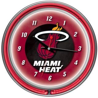 Miami Heat NBA Chrome Double Neon Ring Clock