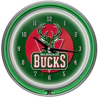 Milwaukee Bucks NBA Chrome Double Neon Ring Clock